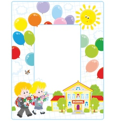 Frame with schoolchildren and a school vector image