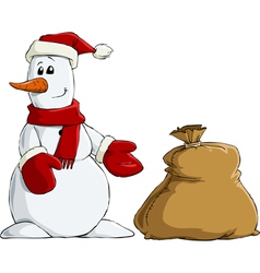 snowman and bag vector image