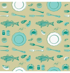 Eat Fish Seafood Pattern Background vector image