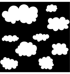Cloud icons set on black sky background vector