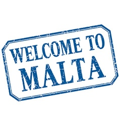 Malta - welcome blue vintage isolated label vector