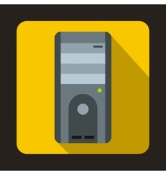 Computer system unit icon flat style vector