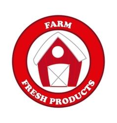 Building over seal stamp icon farm design vector