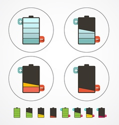 Battery Life Icons Set Isolated on White vector image vector image