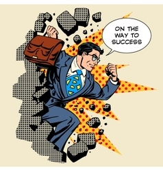 Business breakthrough success businessman hero vector image vector image