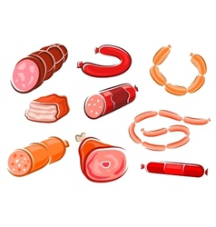 Cartoon processed meats and sausages vector image vector image