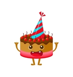 Chocolate and cherry birthday cake in party hat vector