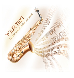 Classical saxophone on musical notes backgroud vector
