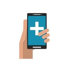 Cross inside smartphone of medical care design vector