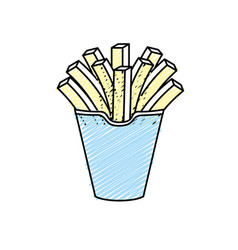 Delicious fries french fast food meal vector
