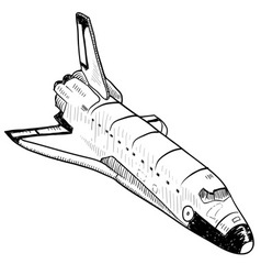 doodle space shuttle vector image vector image