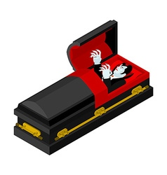 Dracula in coffin Vampire Count in an open coffin vector image vector image
