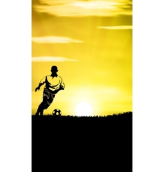 Football Player Training In A Grass Field vector image