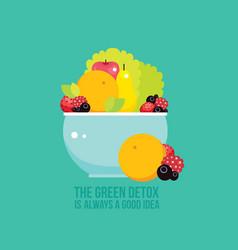 Fresh vegetables greens fruits berries bowl vector