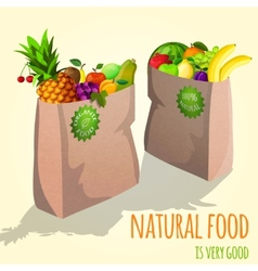 Fruits in paper bag print vector
