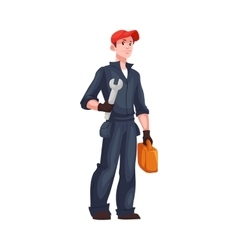 Full length portrait of young and handsome plumber vector image