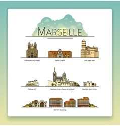 Line art marseille france travel icon set vector