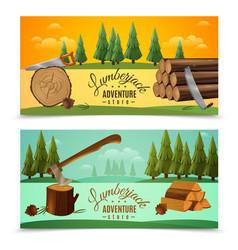 Lumberjack woodcutter horizontal banners set vector