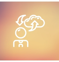 Man with cloud upload and download thin line icon vector image