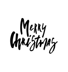 Merry christmas card with calligraphy vector