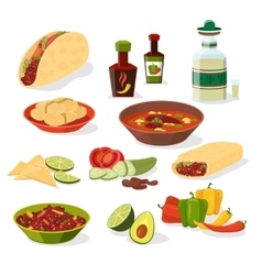 Mexican food icons set vector