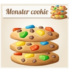 Monster cookies detailed icon vector