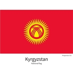 National flag of Kyrgyzstan with correct vector image vector image