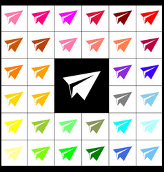 Paper airplane sign felt-pen 33 colorful vector