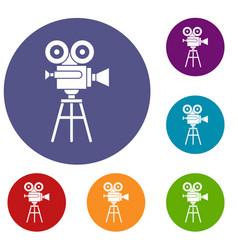 retro film projector icons set vector image vector image