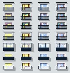 Set different types of balconies vector