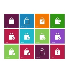 Shopping bag icons on color background vector image