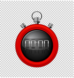 Stopwatch with red border vector