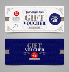 Template gift voucher with glitter silver vector