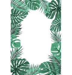 Tropical jungle palm monstera leaf frame portrait vector