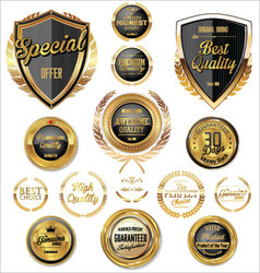 Black and gold quality badges and labels vector