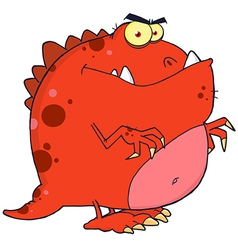 Red dinosaur cartoon character vector