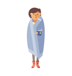 Illness flu woman feeling cold and blowing his vector