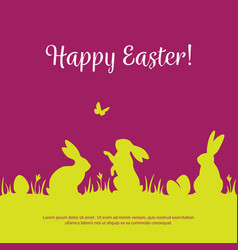 Easter background with bunny silhouettes vector