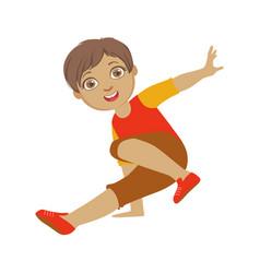 Boy dancing breakdance performing on stage school vector