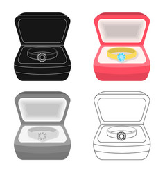 Wedding ring with a diamond in a box gift to the vector