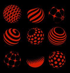 halftone red spheres set vector image