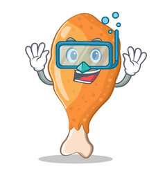 Diving fried chicken character cartoon vector
