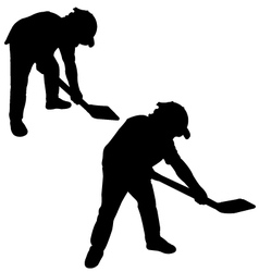Silhouette of man with a spade vector