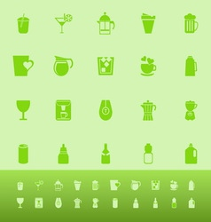 Variety drink color icons on green background vector