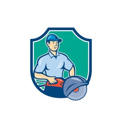 Construction worker concrete saw consaw cartoon vector