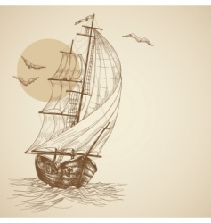 Vintage sailboat vector