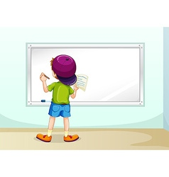 Boy writing vector image