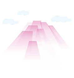 Transparent pink air skyscrapers in the clouds vector