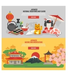 Japanese tradition flat banner set vector