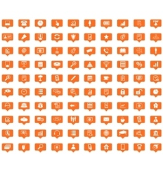 Office orange message icons set vector